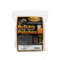 """Butch's Triple Twill Cleaning Patches, .35 - .45 Caliber, 2-1/4"""" Square, 500 Pcs"""